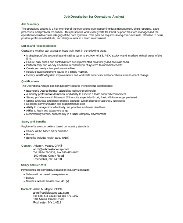 business operations analyst job description