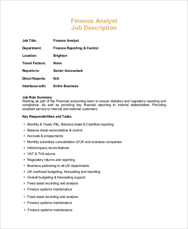 financial business analyst job description