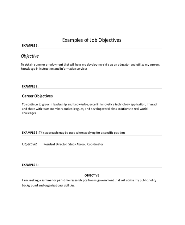 Sample Job Resumes Examples: 8+ Sample Objective On Resumes