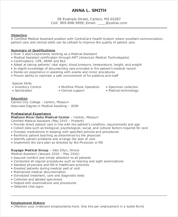 medical assistant resume objective1