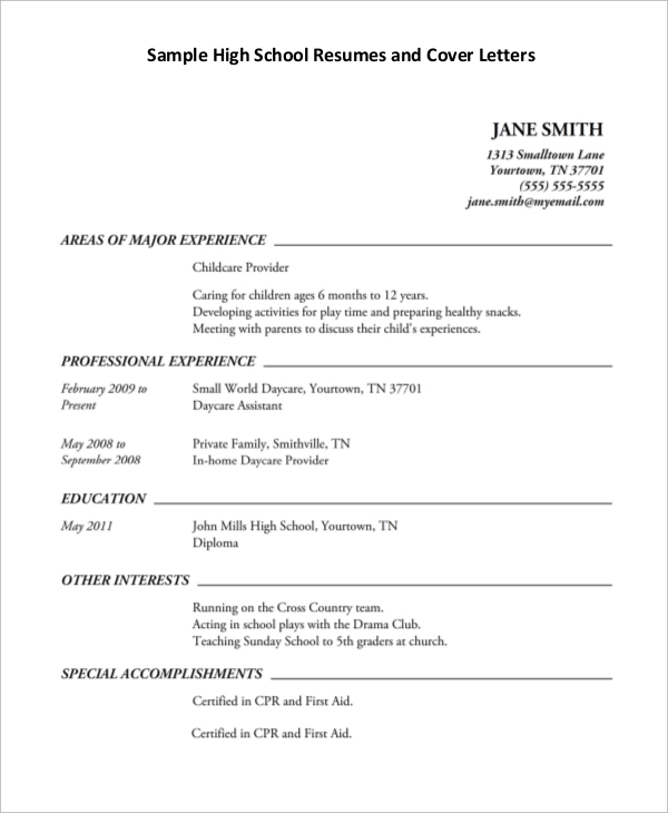 Example Of High School Resume  Template