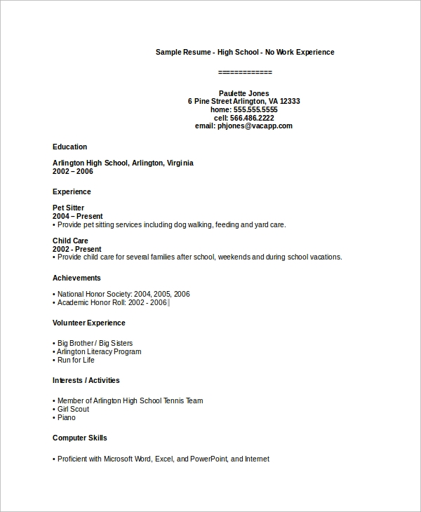 Sample High School Resume   Examples In Pdf