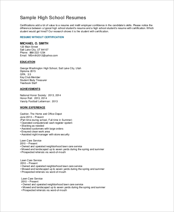 sle high school resume 7 exles in pdf