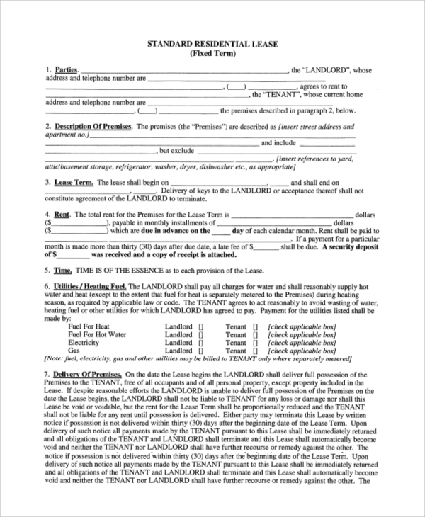 Sample Residential Lease Agreement   Examples In Pdf Word