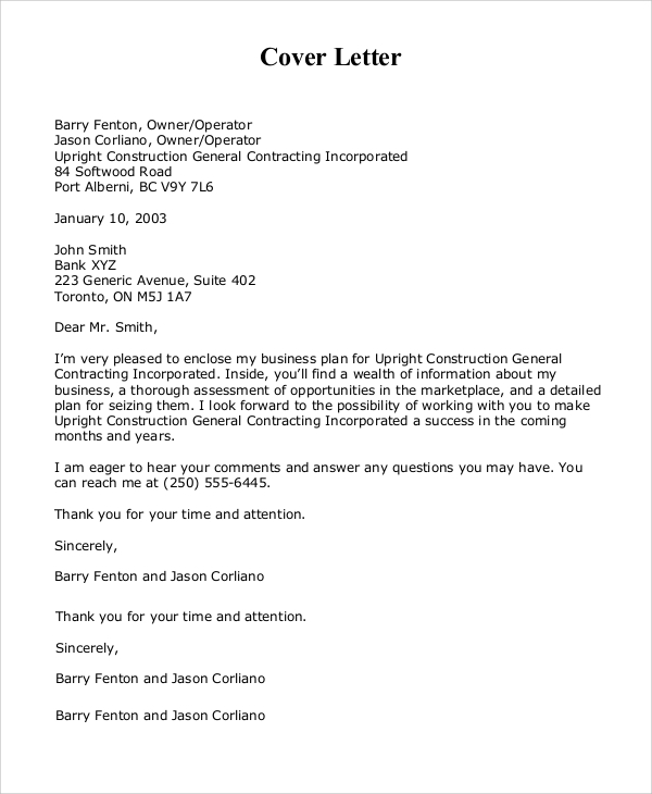 Sample Cover Letter Business Proposal: Sample Cover Letter