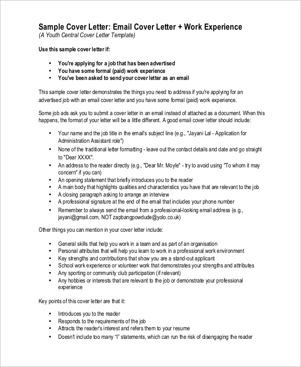 Sample Cover Letter   Examples In Pdf