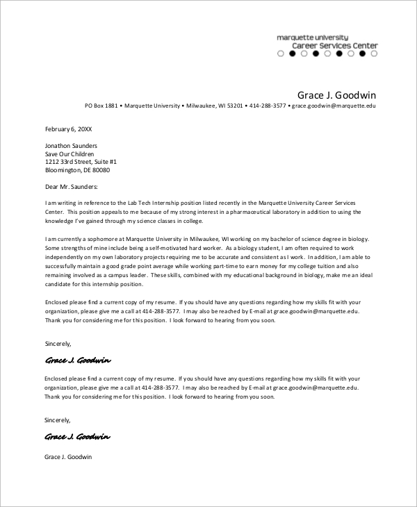 Sample Cover Letter - 9+ Examples In Pdf