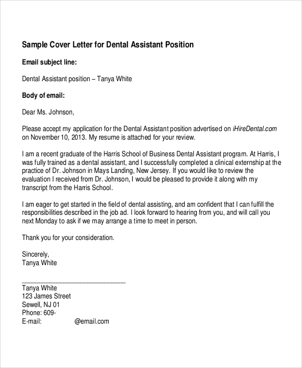 7 best cover letter examples sample templates for Dental assisting cover letters