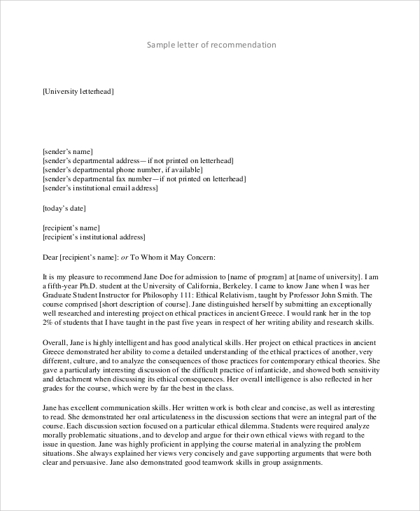 Sample Recommendation Letter Format   Examples In Pdf Word