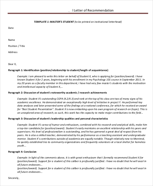 masters student letter of recommendation format