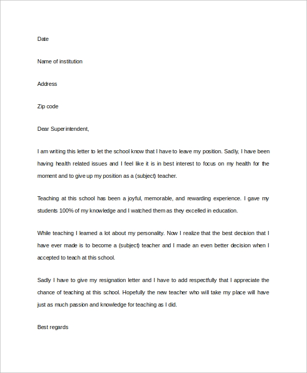 Sample Letter Of Resignation - 7+ Examples In Pdf