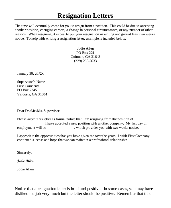 Sample Letter of Resignation 7 Examples in PDF – Positive Letter of Resignation