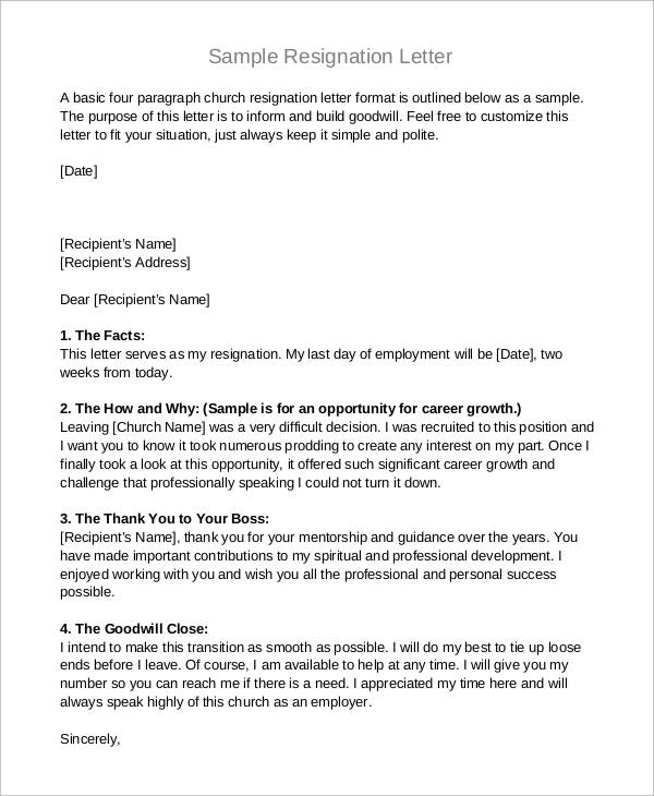 Sample Letter Of Resignation   Examples In Pdf