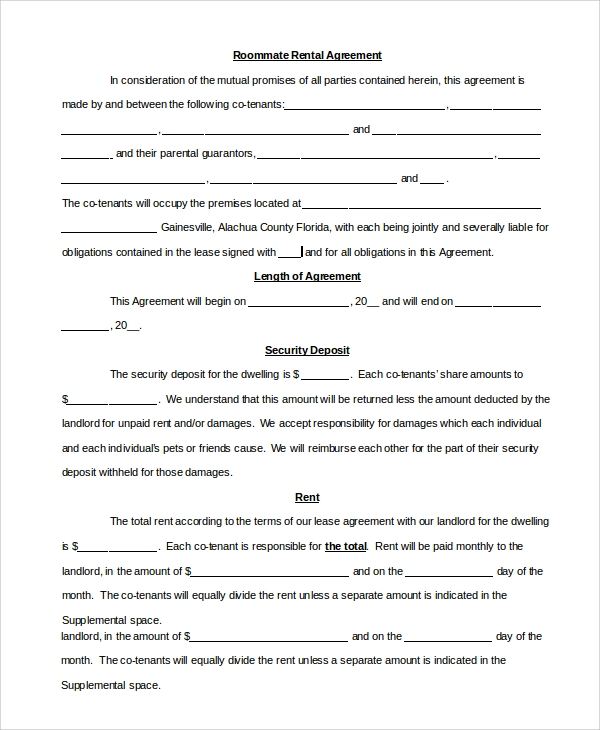 Sample Roommate Agreement   Examples In Pdf Word