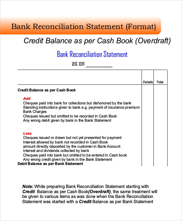 Bank Reconciliation Form Bank Reconciliation Statement Format