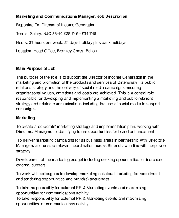 Delightful Marketing Communications Manager Job Description