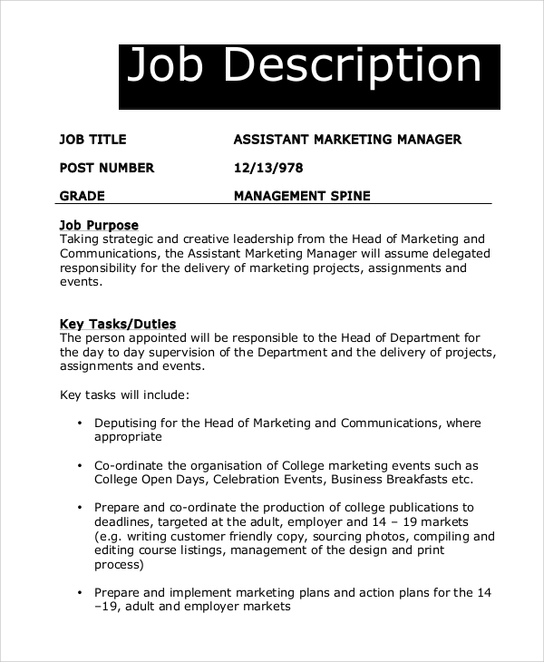 Sample Marketing Manager Job Description 8 Examples in PDF – Marketing Assistant Job Description