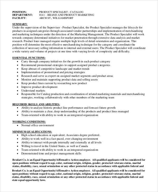 Sample Marketing Manager Job Description 8 Examples in PDF – Product Manager Job Description