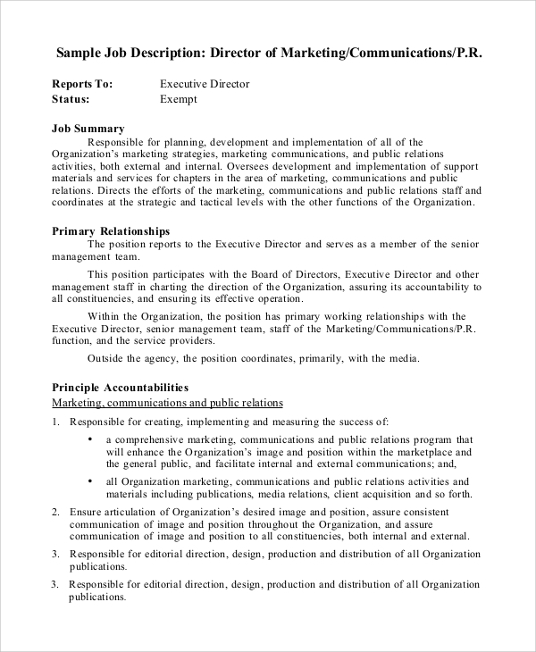 Sample Marketing Manager Job Description - 8+ Examples In Pdf