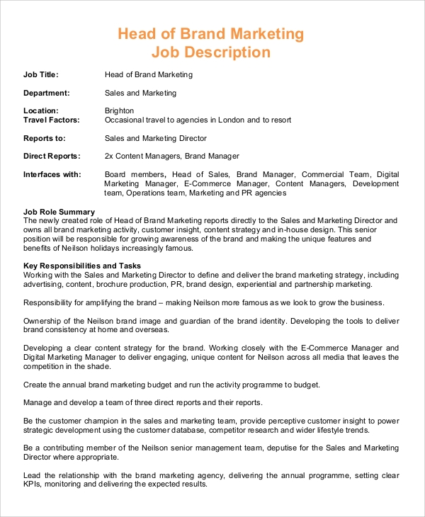 Sample Marketing Manager Job Description 8 Examples in PDF – Sales Director Job Description
