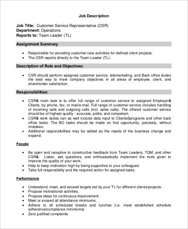 customer service representative job description