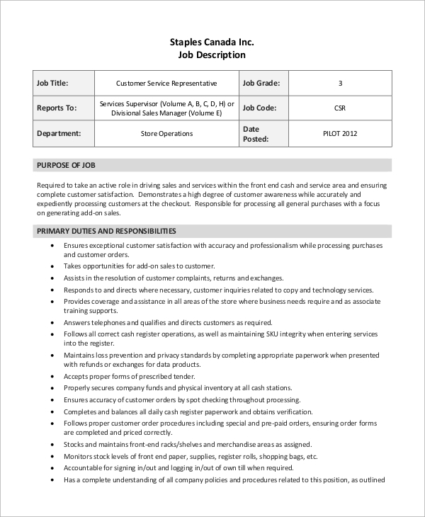 Sample Customer Service Job Description - 8+ Examples in PDF
