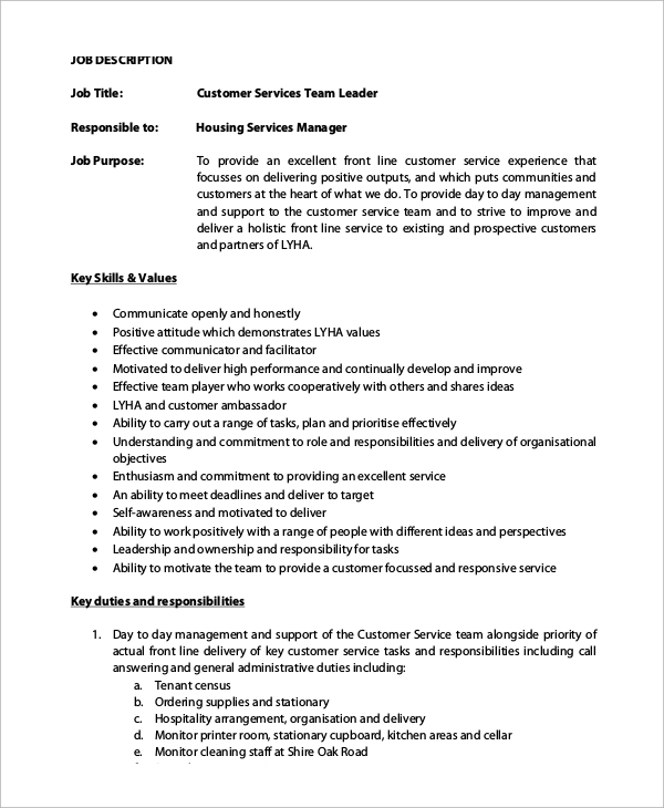 customer service team leader job description