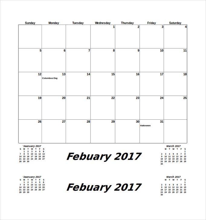 printable monthly calendar1