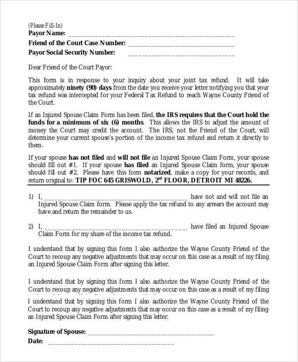 Sample Injured Spouse Form 7 Examples in PDF