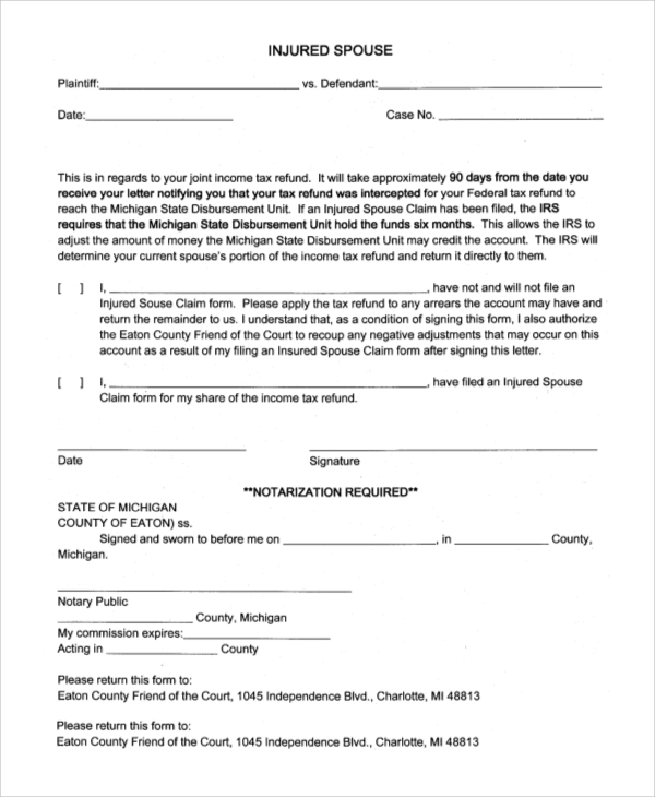 Sample Injured Spouse Form   Examples In Pdf