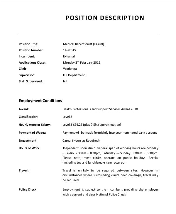 Sample Receptionist Job Description   Examples In Word Pdf