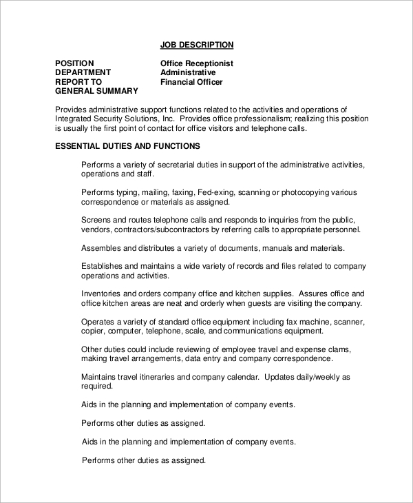 Sample Receptionist Job Description 11 Examples In Word