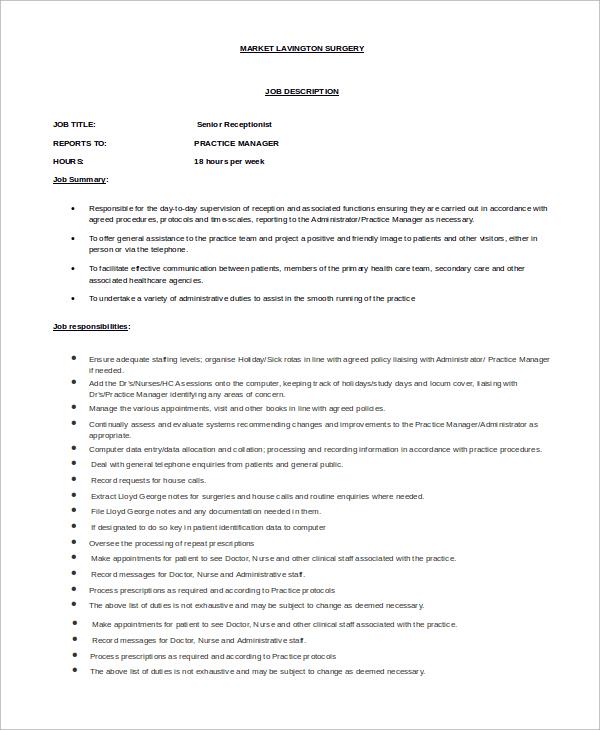 senior receptionist job description
