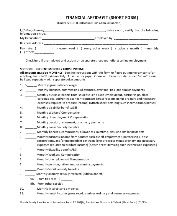 Affidavit Forms Financial Affidavit Short Form Sample Affidavit