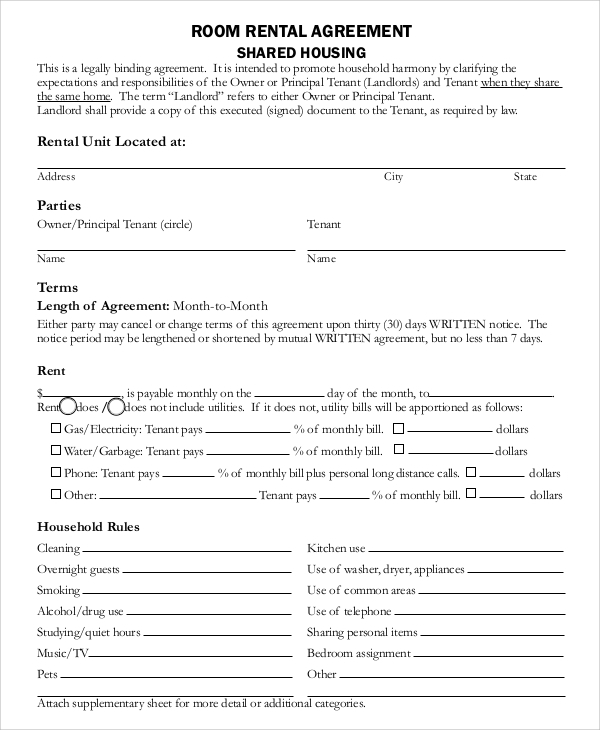 free room rental agreement