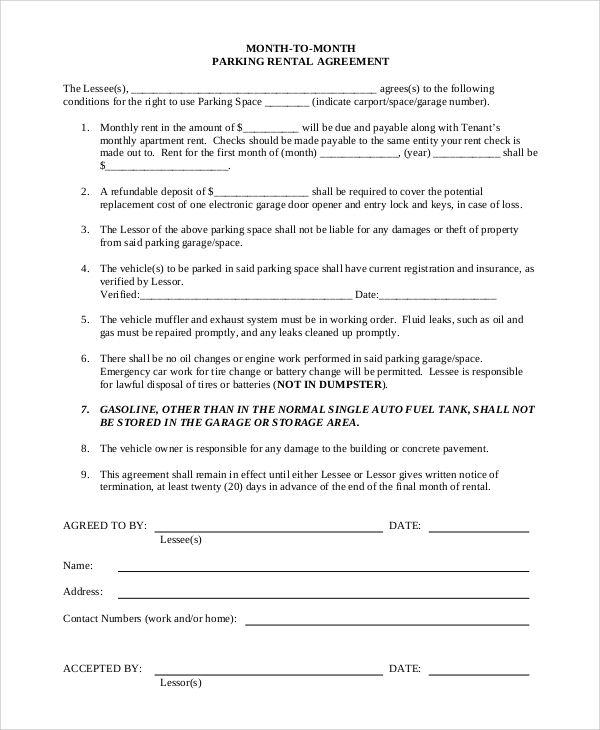 Free Rental Agreement Sample - 9+ Examples In Word, Pdf