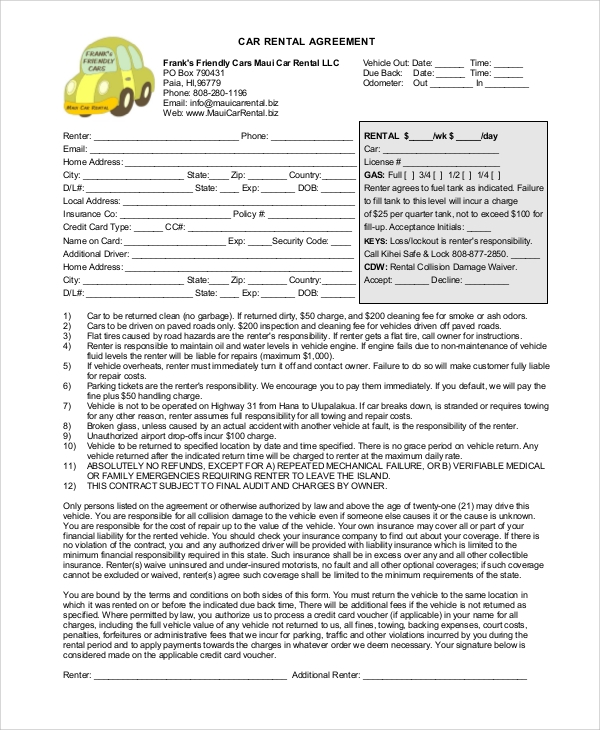 Free Rental Agreement Sample 9 Examples in Word PDF – Car Rental Agreement Sample