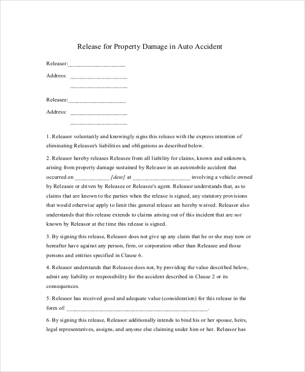 Accident Release Form Template Datariouruguay