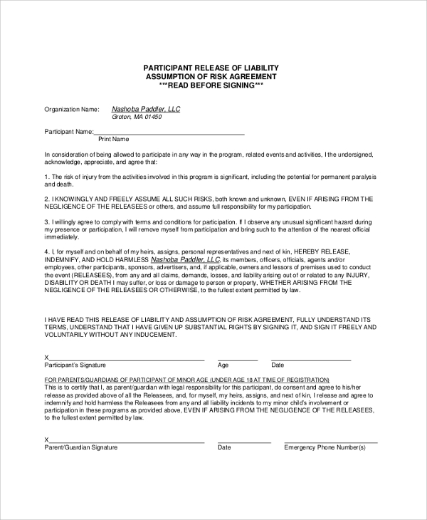 release of liability risk agreement form1