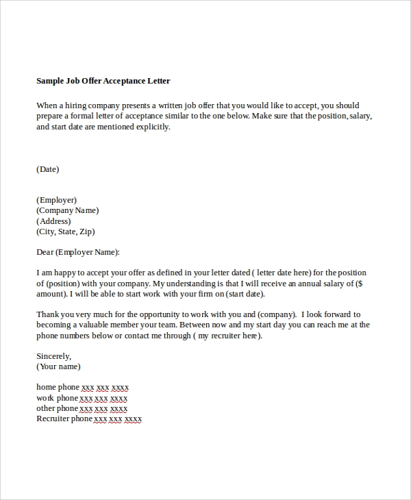 Sample Offer Letter 7 Examples in Word PDF – Job Offer Letters