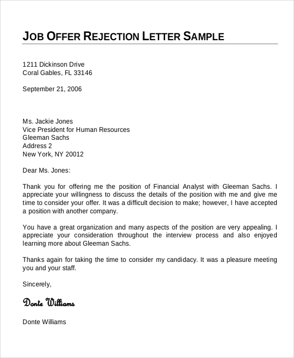employment offer letter 7 sample offer letters sample templates 21500 | Job Offer Rejection Letter