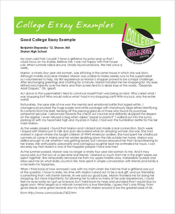 college essay example - Good College Essays Examples