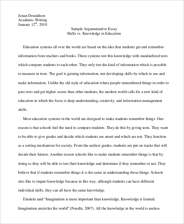 argumentative essay example