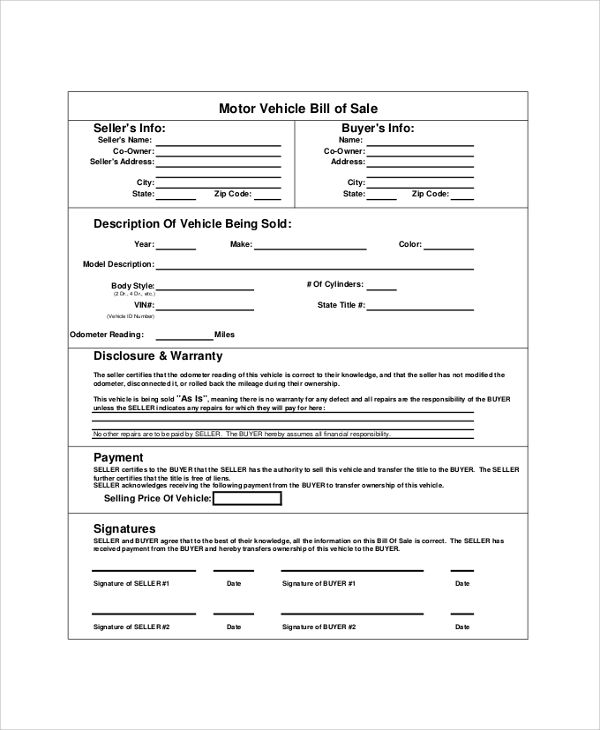 Sample Auto Bill Of Sale - 8+ Examples In Pdf, Word