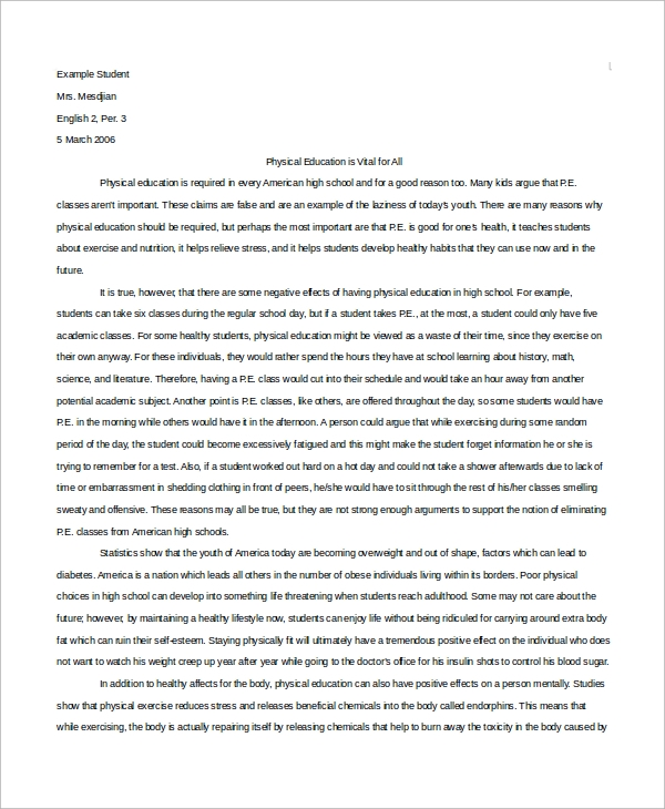 Persuasive essay examples with author