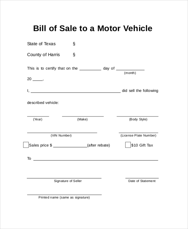 Sample Auto Bill Of Sale   Examples In Pdf Word