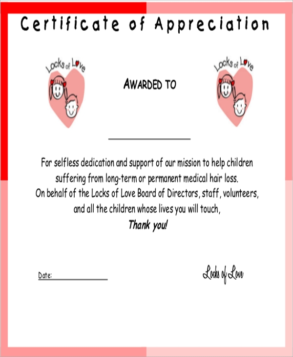 Sample certificate of appreciation 9 examples in word pdf certificate of appreciation example yelopaper