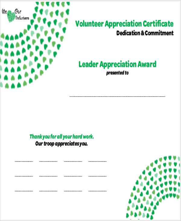9 sample certificates of appreciation sample templates for Volunteer recognition certificate template