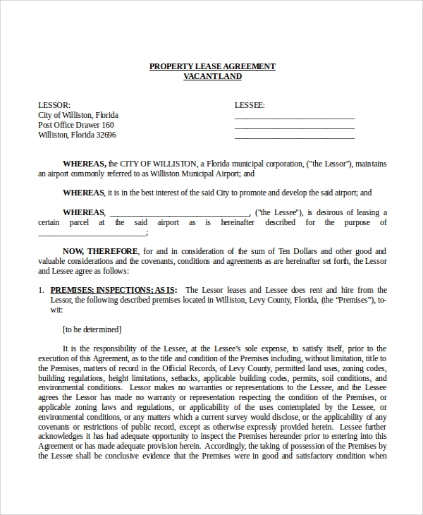 free property lease agreement