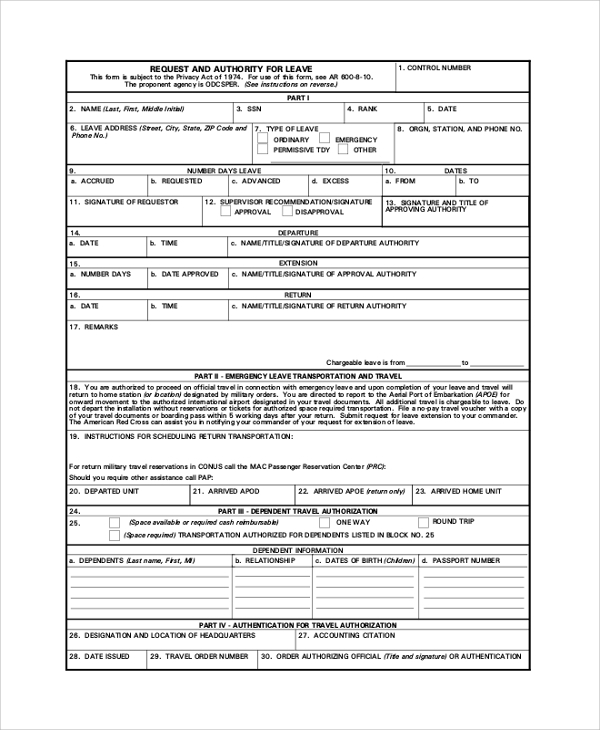 Sample Army Forms 7 Examples in PDF – Format of Leave Form